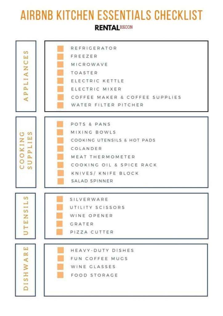 Airbnb Kitchen Essentials Checklist